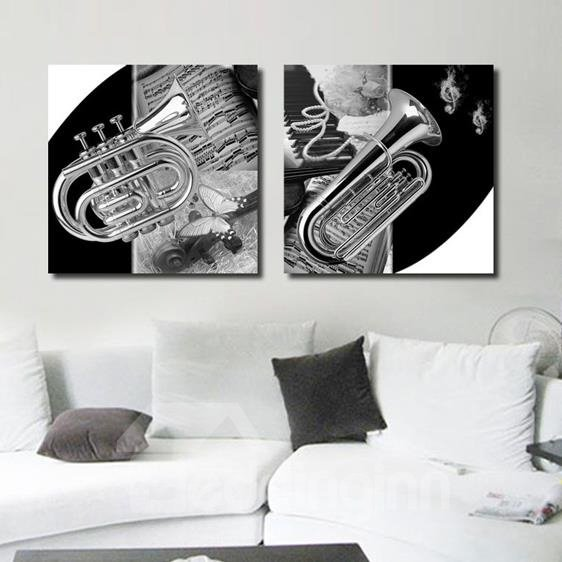 New Arrival Elegant Saxophone and Music Score Print 2-piece Cross Film Wall Art Prints