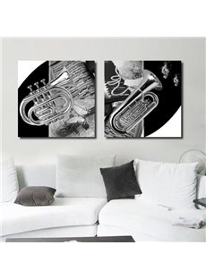 New Arrival Elegant Saxophone and Music Score Print 2-piece Cross Film Wall Art Prints