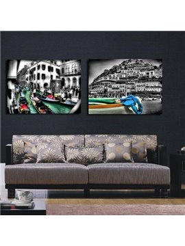New Arrival Elegant Boats and Houses Print 2-piece Cross Film Wall Art Prints