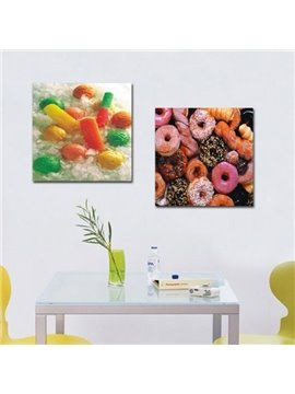New Arrival Lovely Colorful Deserts and Candies Print 2-piece Cross Film Wall Art Prints
