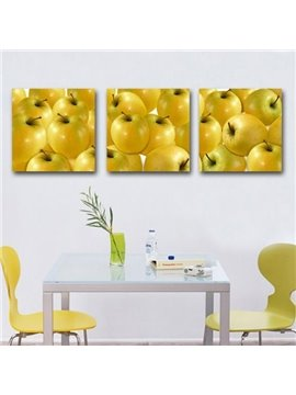New Arrival Beautiful Golden Apples Print 3-piece Cross Film Wall Art Prints