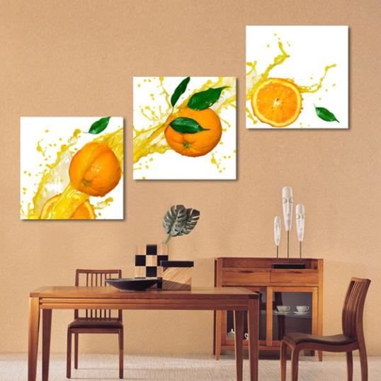 New Arrival Cute Sliced Oranges and Juice Print 3-piece Cross Film Wall Art Prints