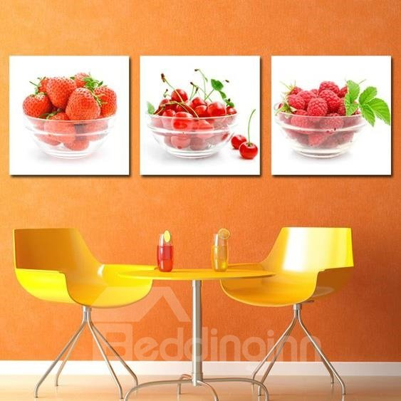 New Arrival Lovely Strawberries and Cherries in the Bowl Print 3-piece Cross Film Wall Art Prints