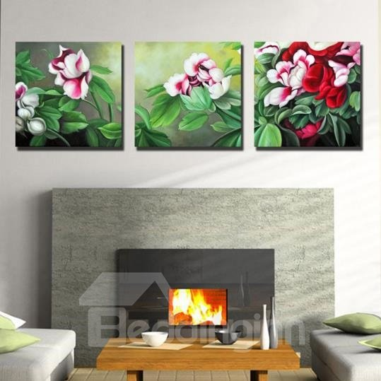 New Arrival Beautiful Flowers and Leaves Print 3-piece Cross Film Wall Art Prints 10881882