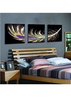 New Arrival Modern Style Lovely Feather Print 3-piece Cross Film Wall Art Prints