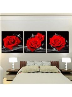 New Arrival Amazing Red Roses Print 3-piece Cross Film Wall Art Prints