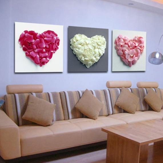 New Arrival Beautiful Heart Petals Print 3-piece Cross Film Wall Art Prints