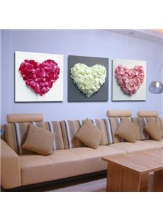 New Arrival Beautiful Heart Petals Print 3-piece Cross Film Wall Art Prints