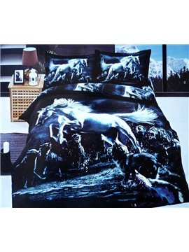 New Arrival Beautiful Jumping Horse and Wolves Print 4 Piece Bedding Sets