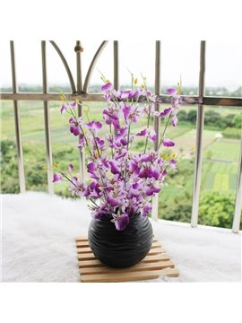 New Arrival Lovely Purple Flowers in Black Round Vase Decorative Artificial Flower Set