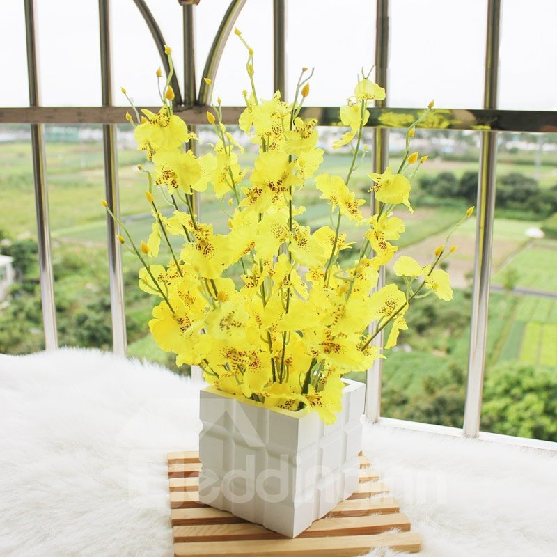 New Arrival Beautiful Yellow Flowers in White Square Vase Decorative Artificial Flower Set