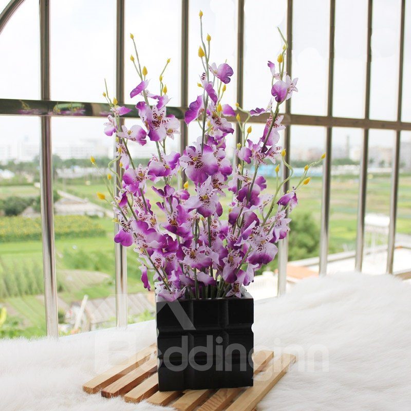 New Arrival Lovely Purple Flowers in Black Square Vase Decorative Artificial Flower Set