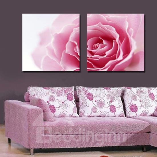 Lovely Pink Rose Flower Print 2-piece Cross Film Wall Art Prints