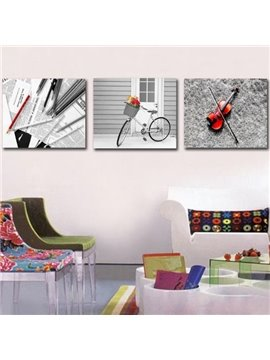 New Arrival Modern Style Lovely Bike and Violin Print 3-piece Cross Film Wall Art Prints