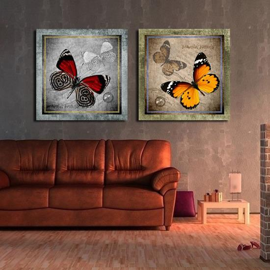 New Arrival Antique Style Butterflies Print 2-piece Cross Film Wall Art Prints