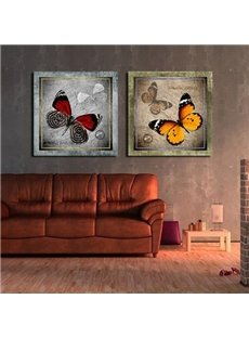 New Arrival Antique Style Butterflies Print 2-piece Cross Film Wall Art Prints