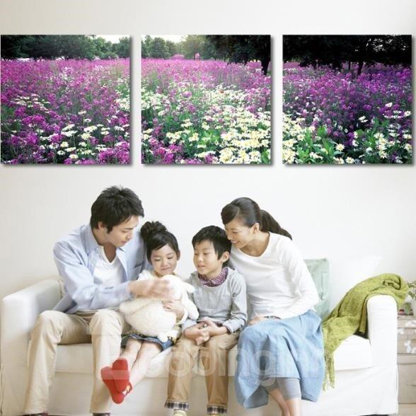 New Arrival Beautiful Purple and White Flowers Print 3-piece Cross Film Wall Art Prints