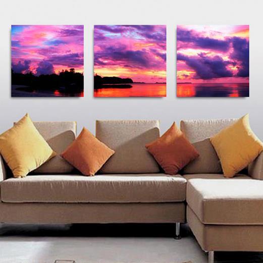 Amazing Purple Sky and Lake 3-piece Cross Film Wall Art Prints
