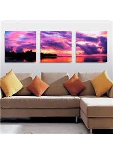 Amazing Purple Sky and Lake 3-piece Cross Film Wall Art Prints
