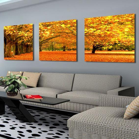 Elegant Golden Maple Tree and Leaves Print 3-piece Cross Film Wall Art Prints