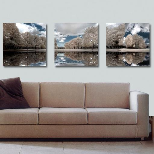 Elegant Grey Trees and Blue Sky Print 3-piece Cross Film Wall Art Prints