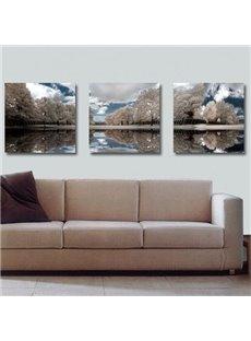 Elegant Grey Trees and Blue Sky Print 3-piece Cross Film Wall Art Prints