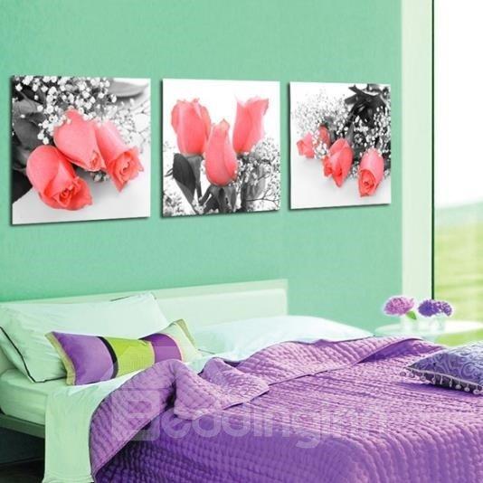 New Arrival Beautiful Pink Roses Print 3-piece Cross Film Wall Art Prints