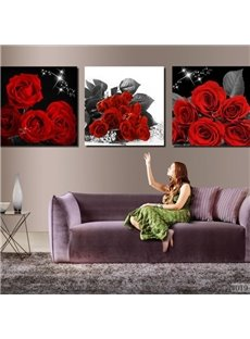 Luxurious Red Roses Blossoms Print 3-piece Cross Film Wall Art Prints