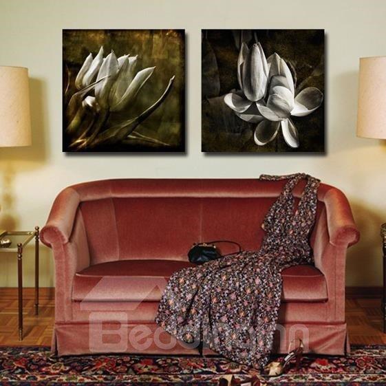 New Arrival Elegant Grey Flowers Print 2-piece Cross Film Wall Art Prints