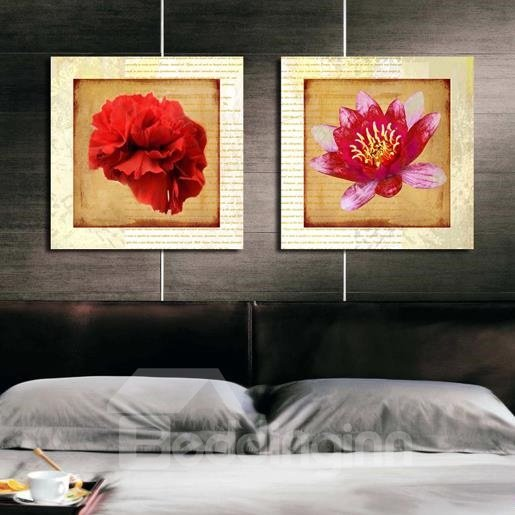 New Arrival Lovely Red Flowers Print 2-piece Cross Film Wall Art Prints