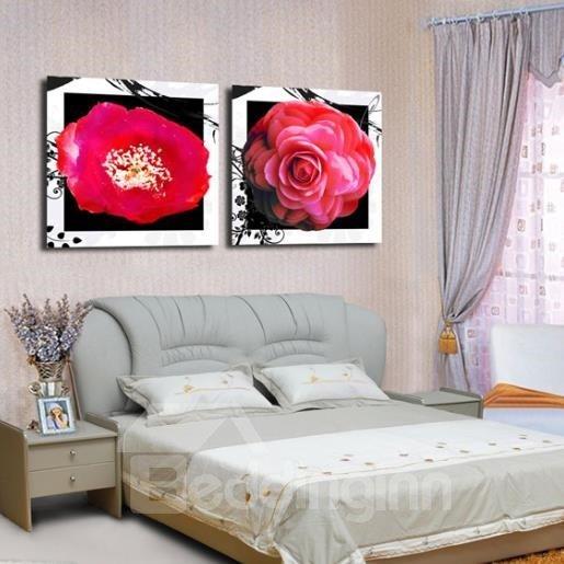 New Arrival Lovely Red Flowers White Border Print 2-piece Cross Film Wall Art Prints
