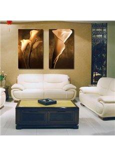 Elegant Brown Flowers Print 2-piece Cross Film Wall Art Prints