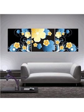 New Arrival Modern Style Lovely Blue and Yellow Flowers Print 3-piece Cross Film Wall Art Prints
