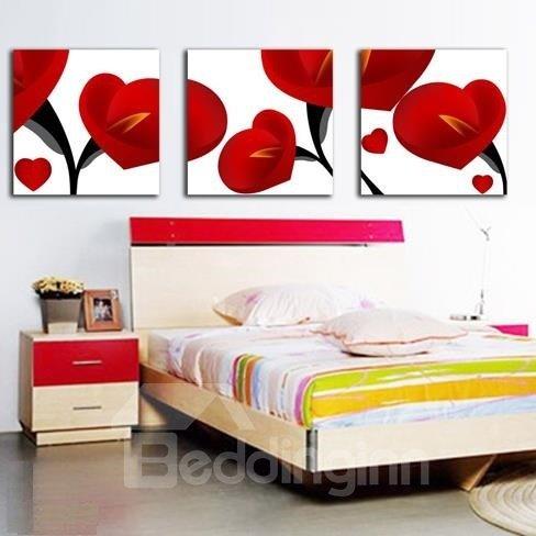 New Arrival Beautiful Red Calla Flowers Print 3-piece Cross Film Wall Art Prints