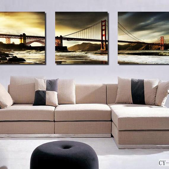 Beautiful Golden Gate Bridge Print 3-piece Cross Film Wall Art Prints