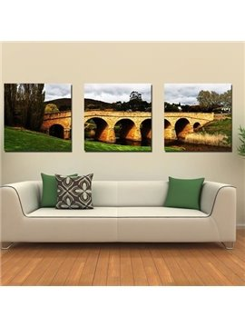 New Arrival Beautiful Stone Arch Bridge Scenery Print 3-piece Cross Film Wall Art Prints