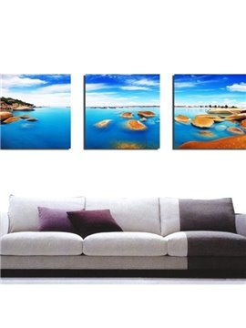 New Arrival Amazing Blue Sky and Sea Print 3-piece Cross Film Wall Art Prints