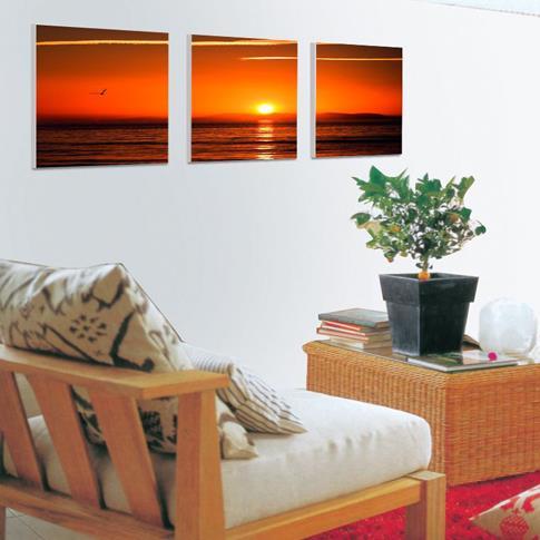 New Arrival Beautiful Sunset and Sea Scenery Print 3-piece Cross Film Wall Art Prints