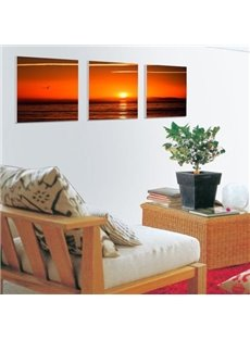 New Arrival Beautiful Sunset and Sea Scenery Print 3-piece Cross Film Wall Art Prints