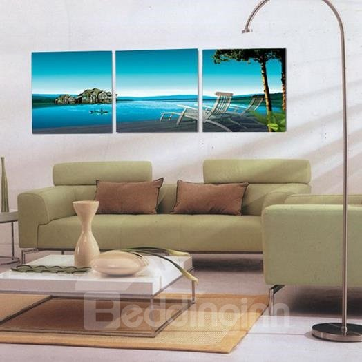 New Arrival Beautiful Blue Sea and Lounge Chairs Print 3-piece Cross Film Wall Art Prints