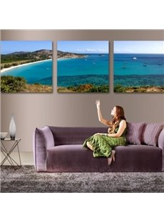 Lovely Blue Ocean and Beach Scenery 3-piece Cross Film Wall Art Prints