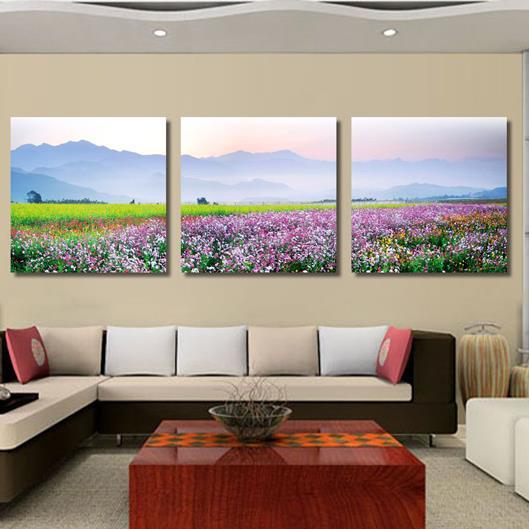 New Arrival Amazing Sea of Flowers Print 3-piece Cross Film Wall Art Prints
