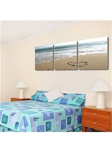 Beautiful Wave Hitting the Beach Print 3-piece Cross Film Wall Art Prints