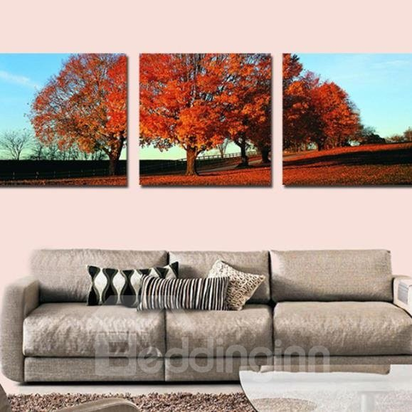 New Arrival Beautiful Red Trees Print 3-piece Cross Film Wall Art Prints