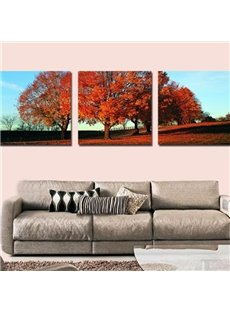 New Arrival Beautiful Red Trees Print 3-piece Cross Film Wall Art Prints