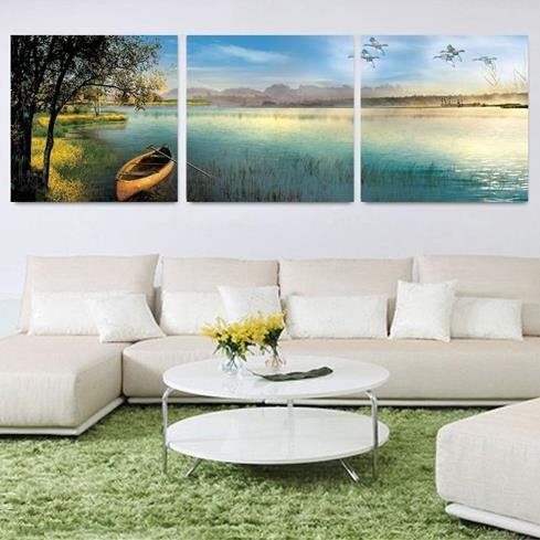 Elegant Boat and Tree by the Lake Print 3-piece Cross Film Wall Art Prints