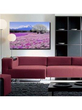 New Arrival Beautiful Purple Sea of Flowers and Mount Fuji Print Cross Film Wall Art Prints
