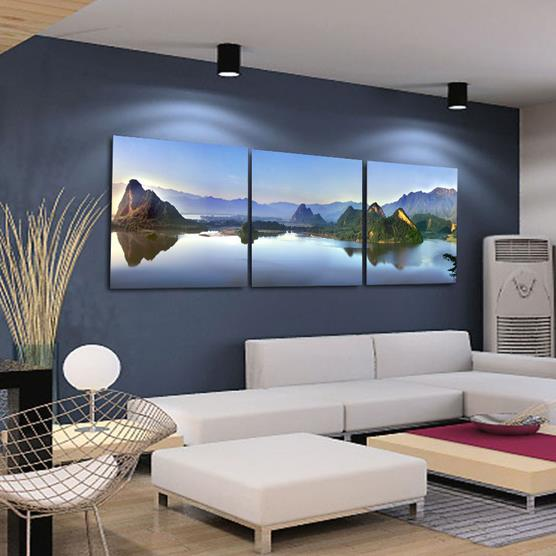 New Arrival Beautiful Mountains and Lake Scenery Print 3-piece Cross Film Wall Art Prints