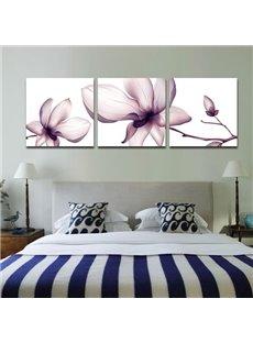 Beautiful Light Purple Flower Print 3-piece Cross Film Wall Art Prints