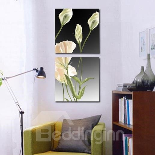New Arrival Lovely White Flowers Green Leaves Print 2-piece Cross Film Wall Art Prints 10882965